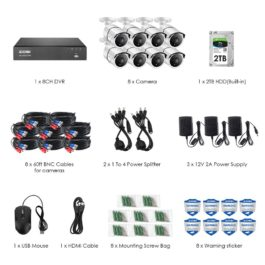 4K 8CH Ultra HD CCTV Security Surveillance Camera System with 2TB HDD  1