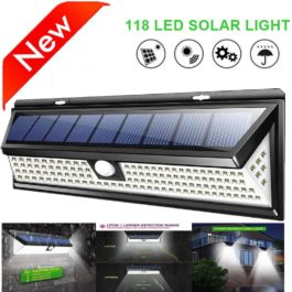 118 LED PIR Motion Sensor Lamp - Outdoor Solar Light - IP65 Waterproof Security Light
