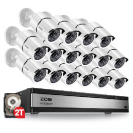 2MP 16CH Video Surveillance System with Night Vision Outdoor/Indoor Home Security Cameras