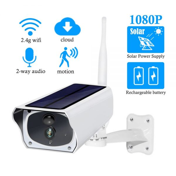 Solar and battery powered outdoor camera - 1080p with wifi connection