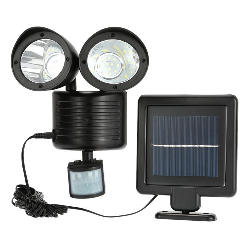 Dual Security Detector Solar Power Spot Light Motion Sensor 22 LED Floodlight for Outdoors