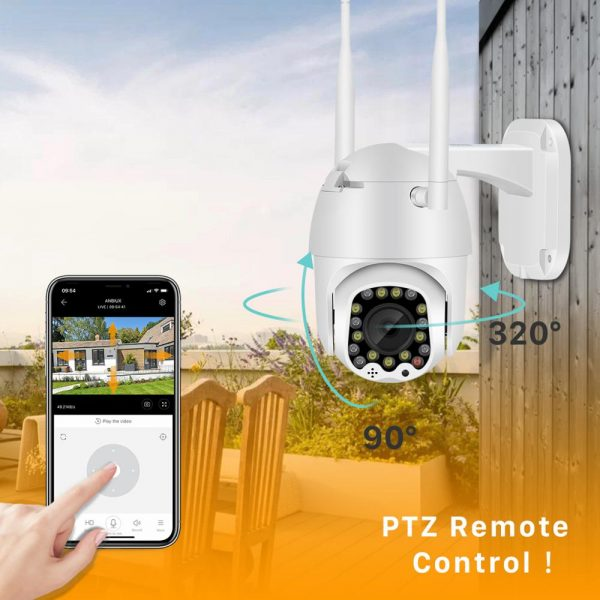 1080P Cloud Wifi PTZ Camera Outdoor 2MP Auto Tracking Home Security IP Camera 4X Digital Zoom Speed Dome Camera with Siren Light 3