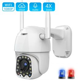 1080P Cloud Wifi PTZ Camera Outdoor 2MP Auto Tracking Home Security IP Camera 4X Digital Zoom Speed Dome Camera with Siren Light 1