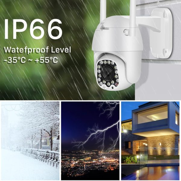 1080P Cloud Wifi PTZ Camera Outdoor 2MP Auto Tracking Home Security IP Camera 4X Digital Zoom Speed Dome Camera with Siren Light 2