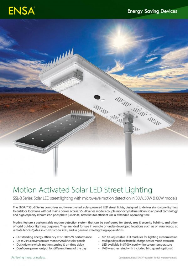 Motion Activated Solar LED Street Lighting