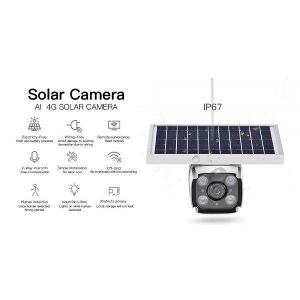 SmartYIBA 4G Solar Camera with 2-way Intercom 5.5w Solar Panel PIR Motion Detection Free Cloud Storage HD IP Camera Rainproof 4