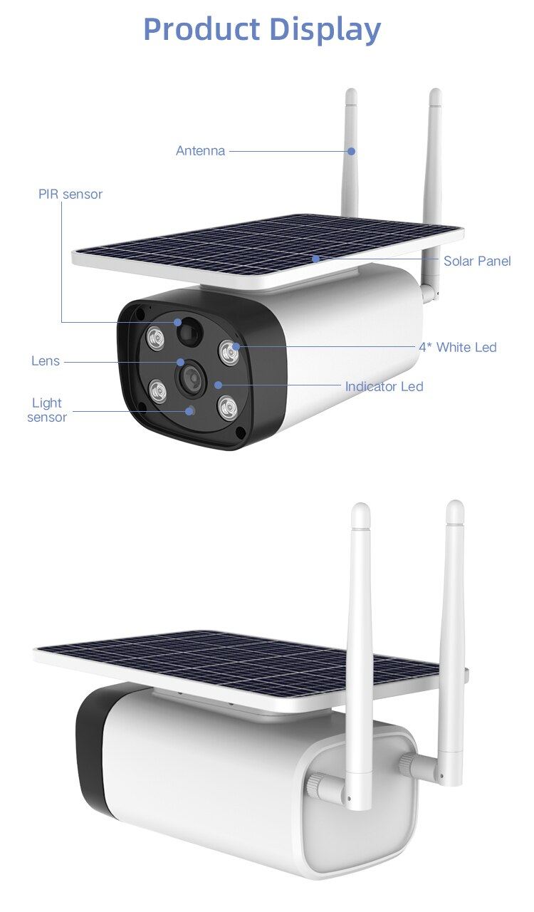 SmartYiBa 4G sim card supported Starlight Night Vision Solar IP Camera Solar Powered Cloud Storage Wire Free PIR Detection 5