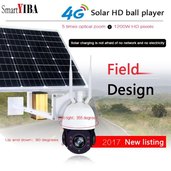 SmartYIBA 1080P Wireless Solar Security Camera with 4G Wifi Function - 2MP IP Solar Camera with 5X Optical Zoom 1