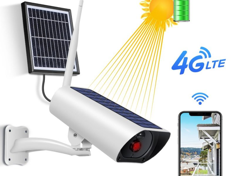 4G & wifi Solar powered surveillance security camera - 1080P with built in solar panel and external solar panel 1