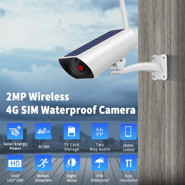 4G & wifi Solar powered surveillance security camera - 1080P with built in solar panel and external solar panel 2