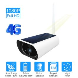 Solar & Battery Powered Security Camera 1080P - SIM Card 3G 4G GSM for remote sites with no power or internet 1