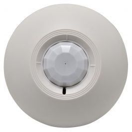 This ceiling mounted passive infrared motion detector has a detection range up to 8m (4.5m high) and 360° field of detection. False alarms are prevented with the dual element infrared sensor and auto temperature compensation.