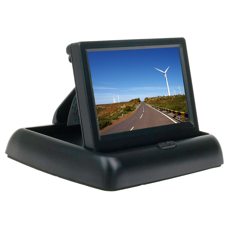 """The RHINO™ MSMON-4 is a 4.3"""" TFT dashboard flip monitor for vehicles which works automatically when reversing. It has a convenientdesign that allows it to flipped up at the touch of a button."""