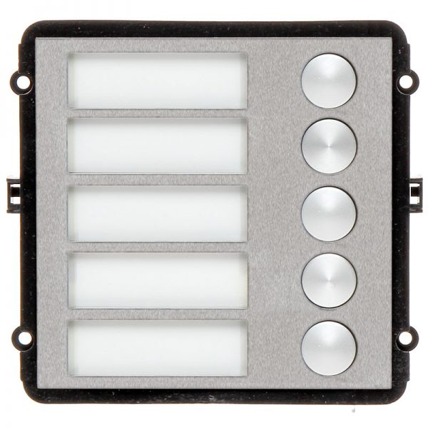 The INTIPVDSB5 is a 5 button IP door station module for the VIP Vision Multi-Tenant Intercom Series. This compact unit features a robust stainless steel front pane