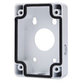 Aluminium adapter/junction box used as a spacer or as connector for corner & pole mounts. For PTZ surviellance cameras.