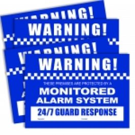 Pack contains 4 A4 sized Alarm Warning Stickers.