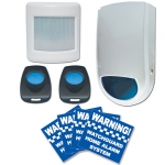 This is an Entry Level Wireless Alarm System designed for use in a residential setting where the owner is wanting a basic security system without external monitoring.