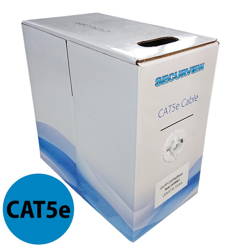 This pullbox contains 305 meters of CAT5e unshielded UTP cable in a blue colouring