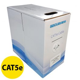 This pullbox contains 305 meters of CAT5e unshielded UTP cable in a yellow colouring