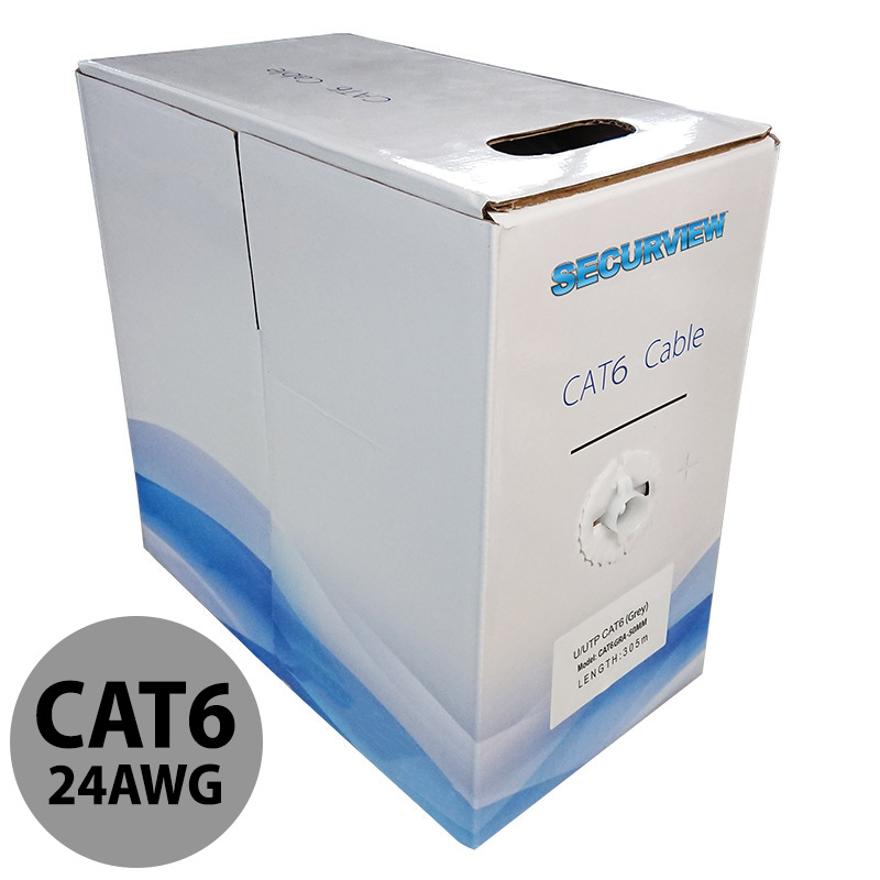 This pullbox contains 305 meters of CAT6 unshielded UTP cable in a grey colouring