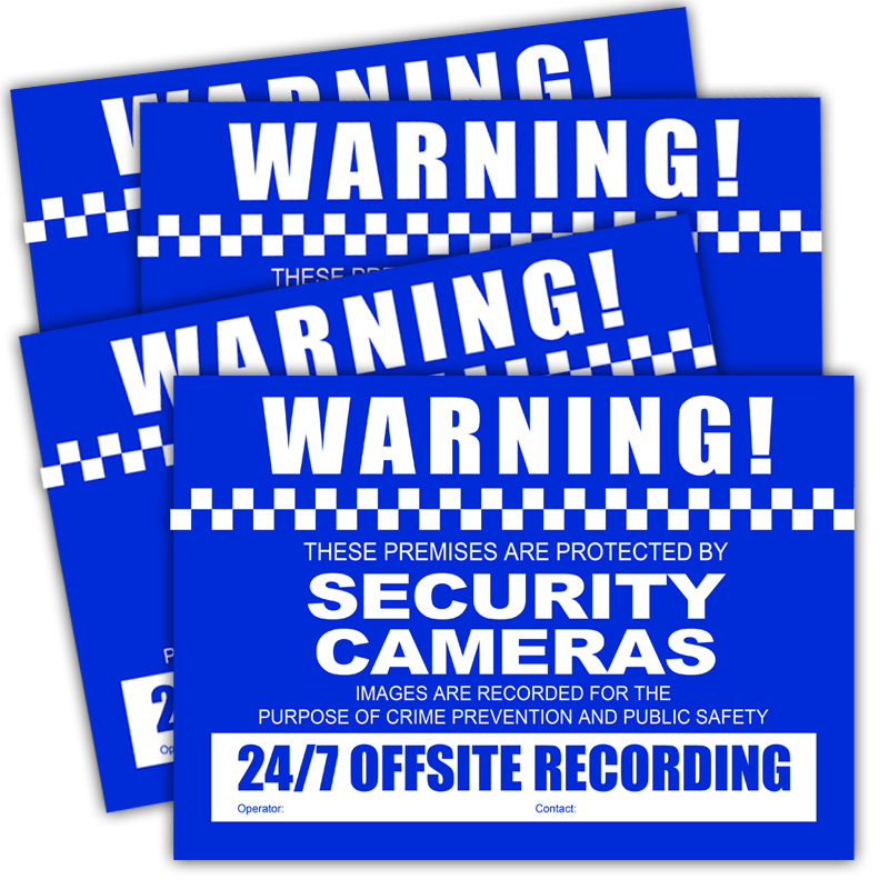 Pack includes 4 A4 sized CCTV Warning Stickers.