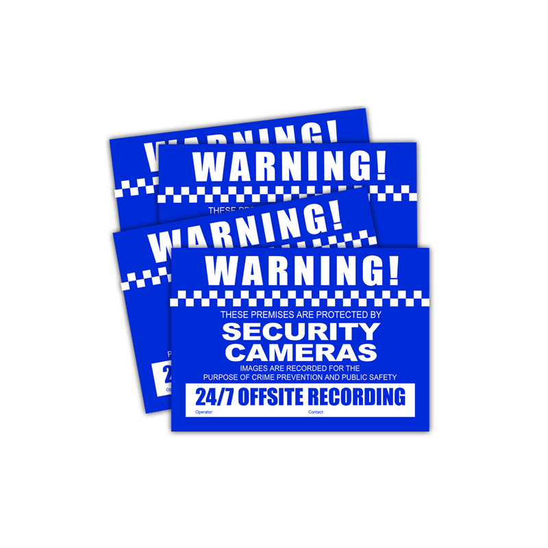 Pack includes 4 small sized CCTV Warning Stickers.
