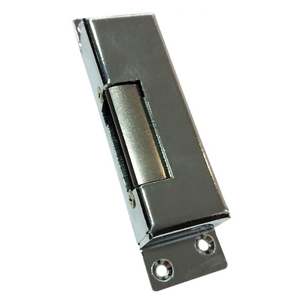 The VIP Vision ACLOC104 is a strong surface mount electric door strike for use with access control systems. It features a durable chrome faceplate and is configured in fail-secure mode in the event of power loss.