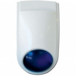 European style 115dB external siren with integrated blue strobe light