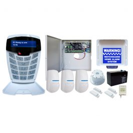 Complete home & commercial alarm system with contact ID protocol dialer for a central monitoring station. It contains a premier Watchguard 8 zone alarm panel and LCD keypad
