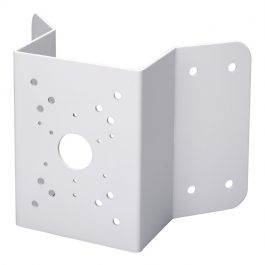 Heavy duty coated SECC wall mount corner bracket for surveillance cameras.