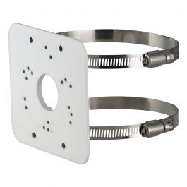 Heavy duty coated aluminium pole mount bracket for surveillance cameras with two clamps. Adjustable from Ø80~150mm.