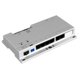 Inline Power over Ethernet switch that facilitates network and power for up to six IP intercom monitors. Simplify the expansion of Intercoms & Door Bells
