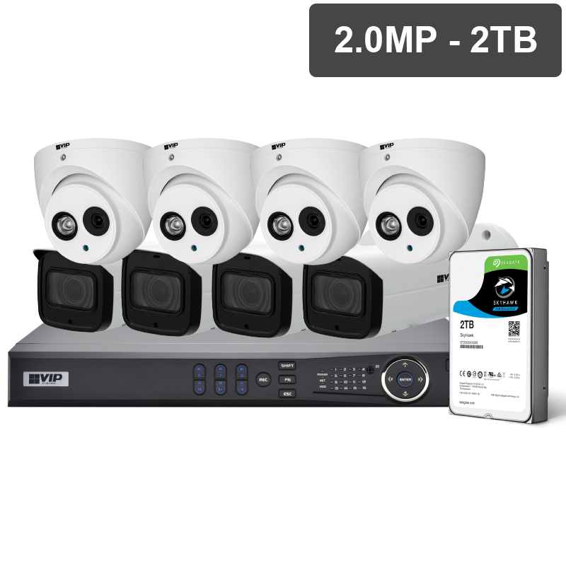 VIP Vision™ Professional Series CCTV kits offer broadcast-quality image performance with built-in Power over Ethernet for fast installations. Mix & match any equivalent priced dome or bullet camera to suit your installation needs.