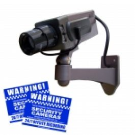 This realistic looking replica CCTV Dome camera acts as a deterrent to would be criminals. It has a true professional appearance and the dummy camera has a red flashing LED to give the appearance that the camera is operating. The kit comes with two high-visibility warning stickers
