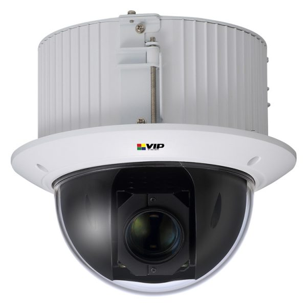 This recessed mount compact PTZ is ideal for in ceiling installation and offers professional features such as edge recording and alarm integration.