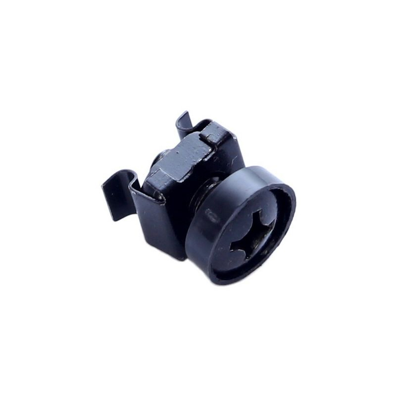 Black screw cross-head with plastic washer and caged nut. Includes 100 pieces.