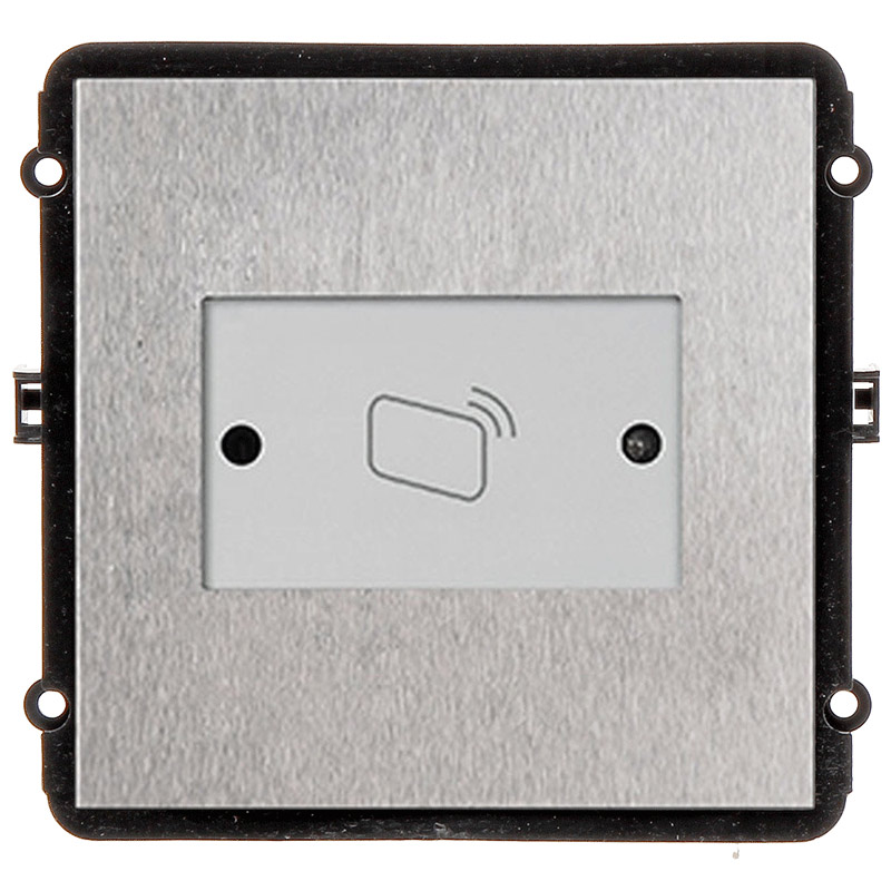 The INTIPVDSR is a reader door station module for the VIP Vision Multi-Tenant Intercom Series. This compact unit features a robust stainless steel front pane with an RFID card reader to scan registered cards/tags for quick