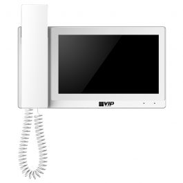 The INTIPMONDWH is a touch screen indoor monitor that integrates into IP video intercom solutions. The monitor communicates with the apartment door station via handset