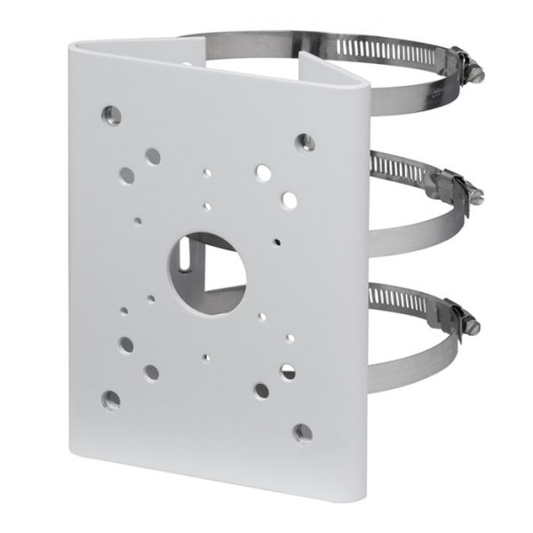 Heavy duty coated SECC pole mount bracket for large surveillance cameras with three clamps. Adjustable from Ø80~150mm.
