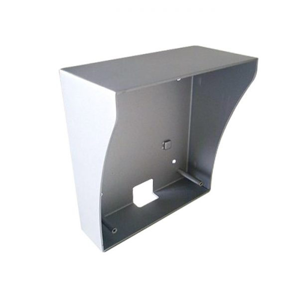 The INTIPRDSVW-RS is a metal weather shield and surface mount box for use with INTIPRDSVW. It features a grey