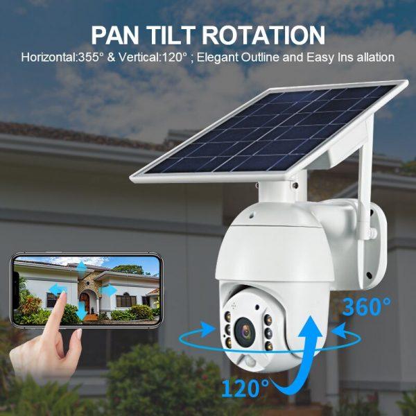 Battery & Solar Powered Security Surveillance Camera - PTZ 4G & WiFi camera with 8W solar panel 16