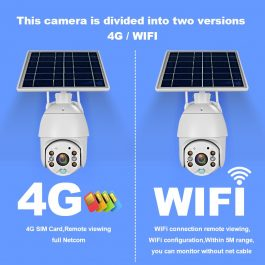 Battery & Solar Powered Security Surveillance Camera - PTZ 4G & WiFi camera with 8W solar panel 5