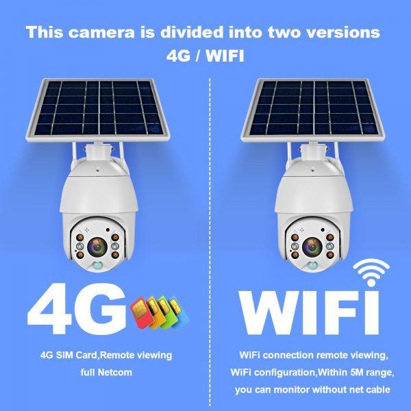 Battery & Solar Powered Security Surveillance Camera - PTZ 4G & WiFi camera with 8W solar panel 5