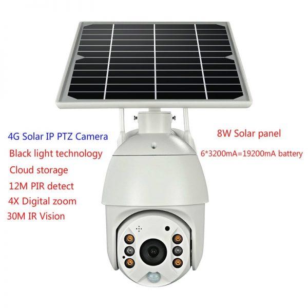 Battery & Solar Powered Security Surveillance Camera - PTZ 4G & WiFi camera with 8W solar panel 6