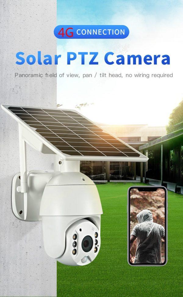 Battery & Solar Powered Security Surveillance Camera - PTZ 4G & WiFi camera with 8W solar panel 9