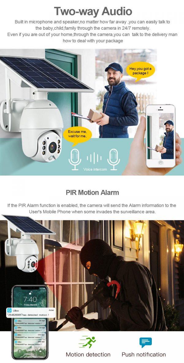 Battery & Solar Powered Security Surveillance Camera - PTZ 4G & WiFi camera with 8W solar panel 19