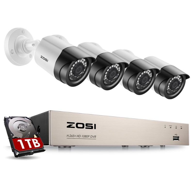 ZOSI Security Camera System 8CH 1080p H.265+ TVI CCTV DVR with 4 x 2.0mp Security Cameras Kits Home Video Surveillance System 1