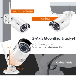 ZOSI 1080P HD Wi-Fi Wireless Security Camera System 4CH 1080P HDMI NVR Kit 4pcs HD 2.0MP Indoor/Outdoor Surveillance IP Cameras 2