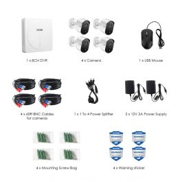 ZOSI 8CH 1080P DVR CCTV System with PIR sensor 4pcs 1080P 2.0MP Security Cameras IR outdoor IP66 Home Video Surveillance kit 2