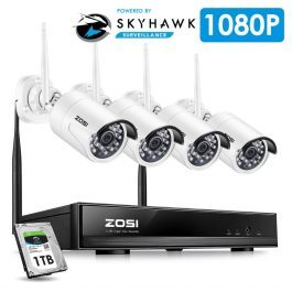 ZOSI 1080P HD Wi-Fi Wireless Security Camera System 4CH 1080P HDMI NVR Kit 4pcs HD 2.0MP Indoor/Outdoor Surveillance IP Cameras 1